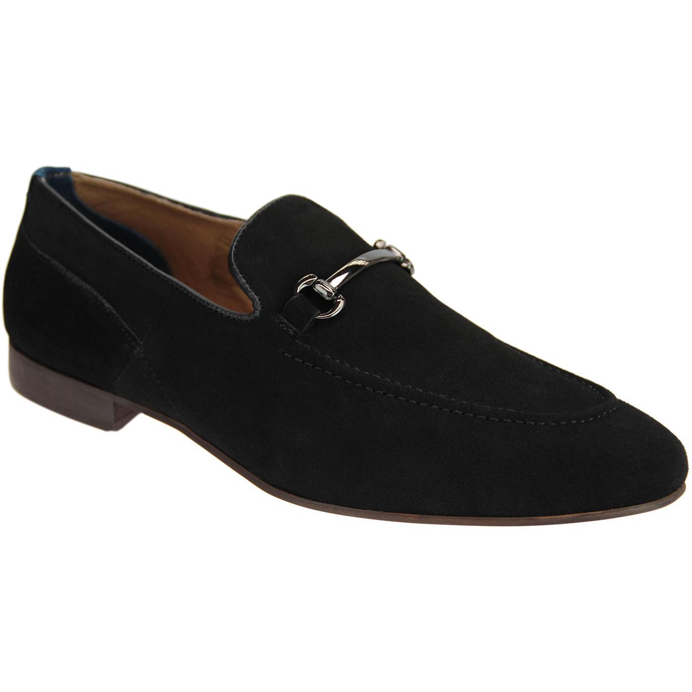 Banchory HUDSON Men's Retro Suede Loafers BLACK