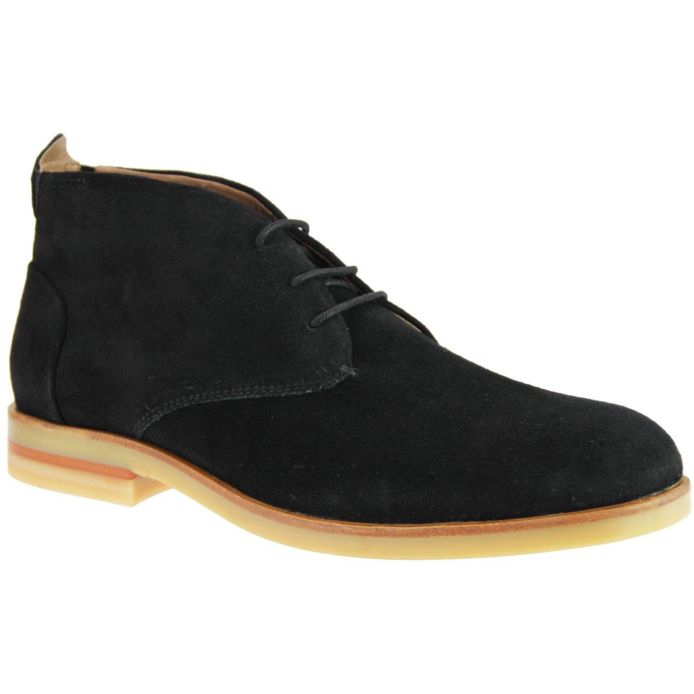 Bedlington HUDSON 60s Mod Suede Desert Boots BLACK