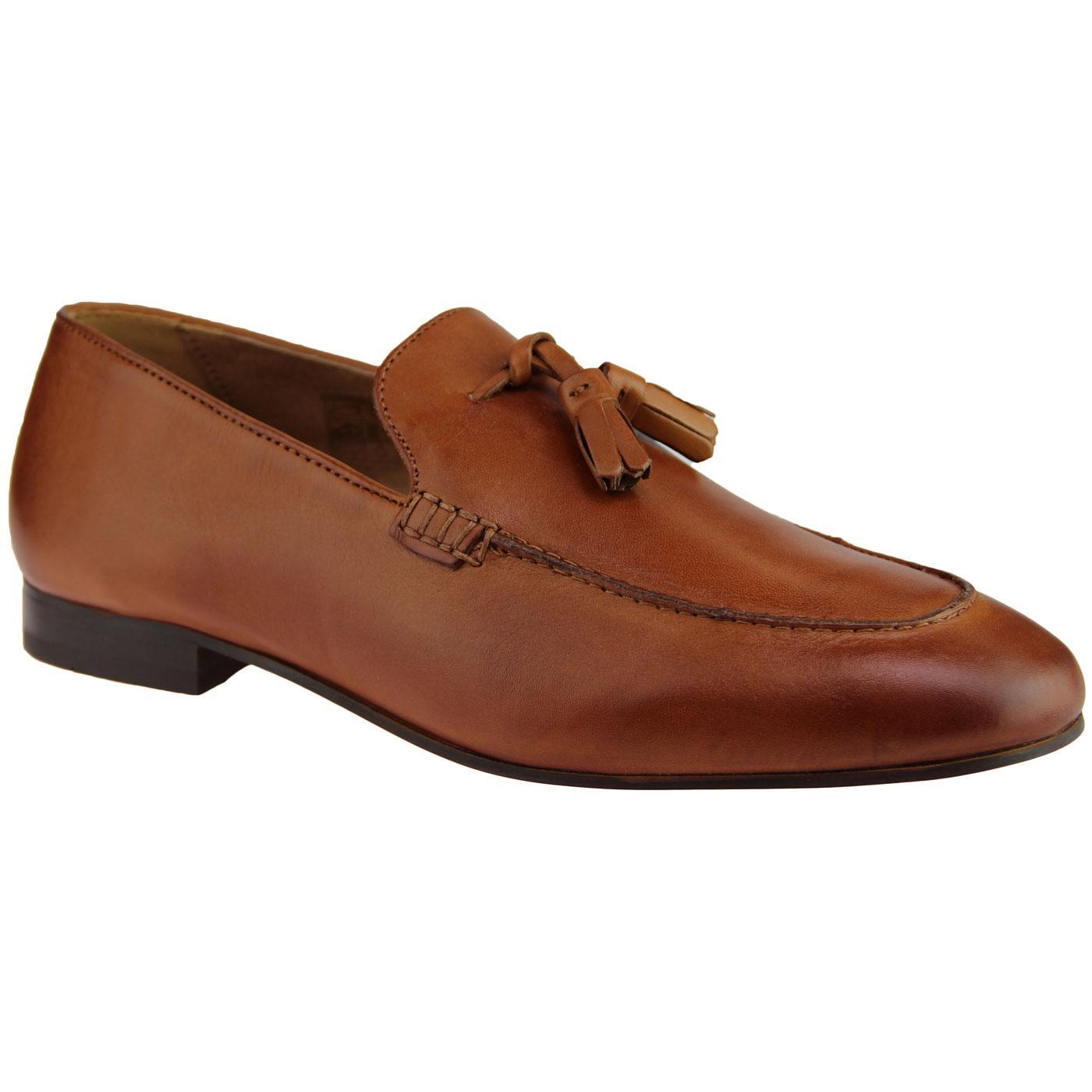 Bolton HUDSON Retro Mod Leather Tassel Loafers TAN