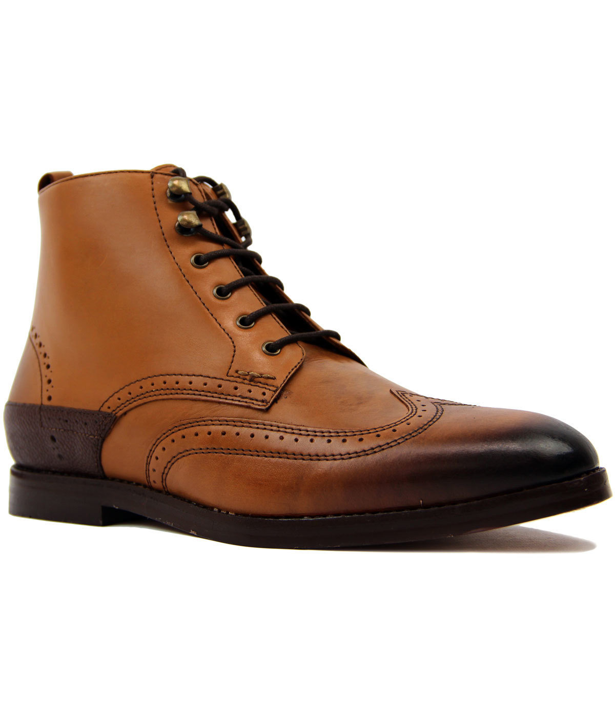 Penley H by HUDSON Retro Brogue Worker Boots (TAN)