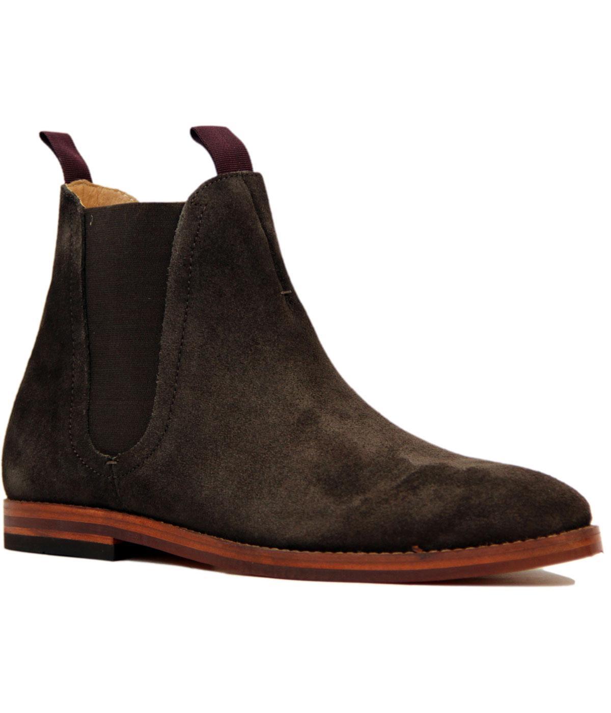 h by hudson tamper retro mod suede chelsea boots in brown. Black Bedroom Furniture Sets. Home Design Ideas