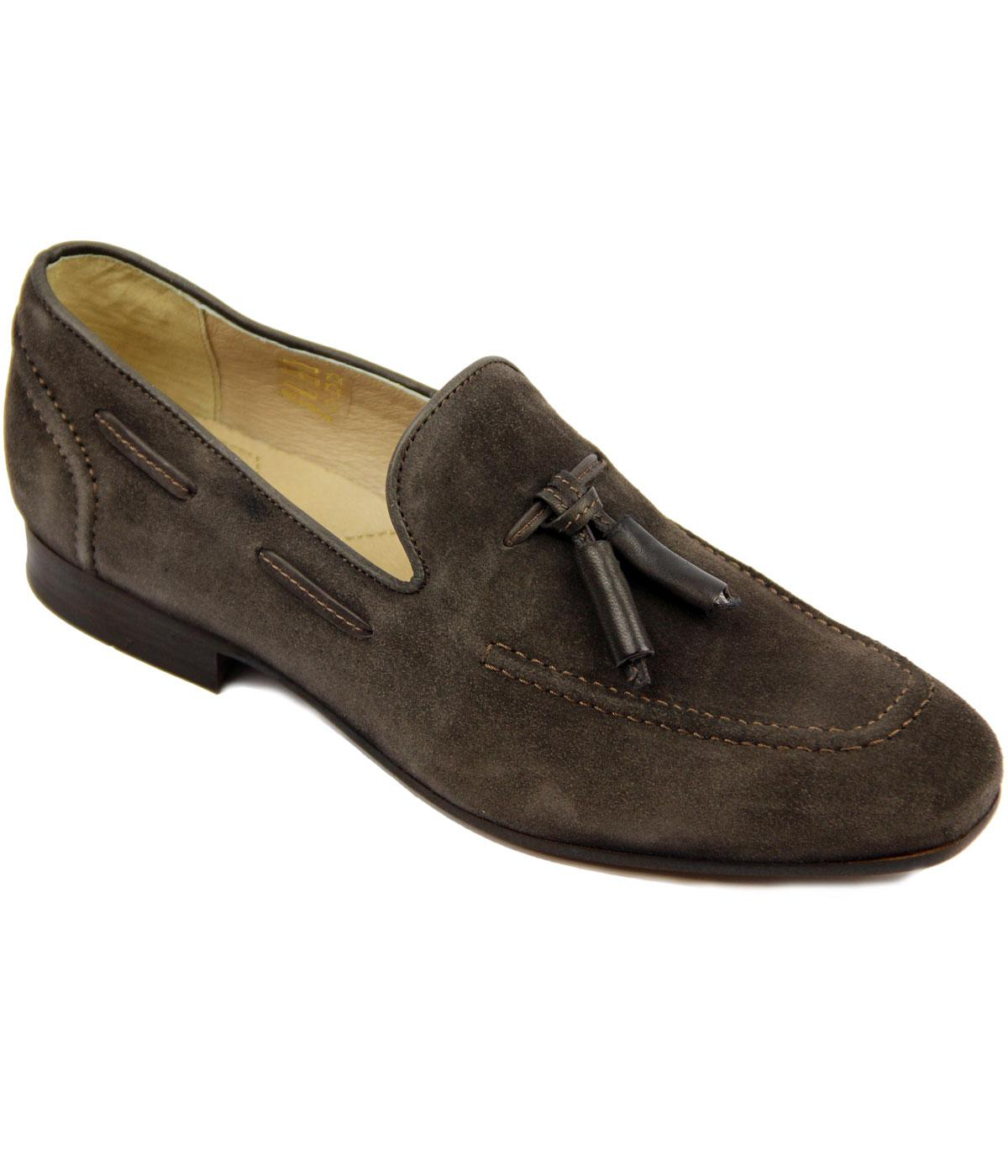 Pierre H by HUDSON Retro Mod Suede Loafers (Brown)