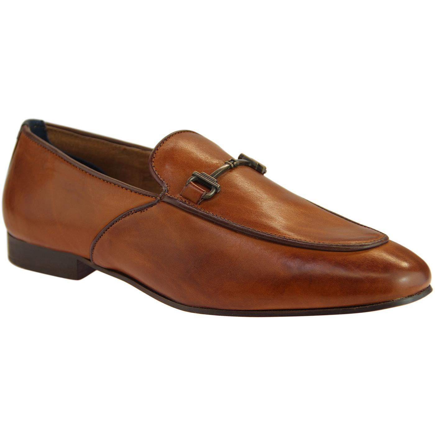 Carmarthen HUDSON Retro Brass Snaffle Loafers TAN