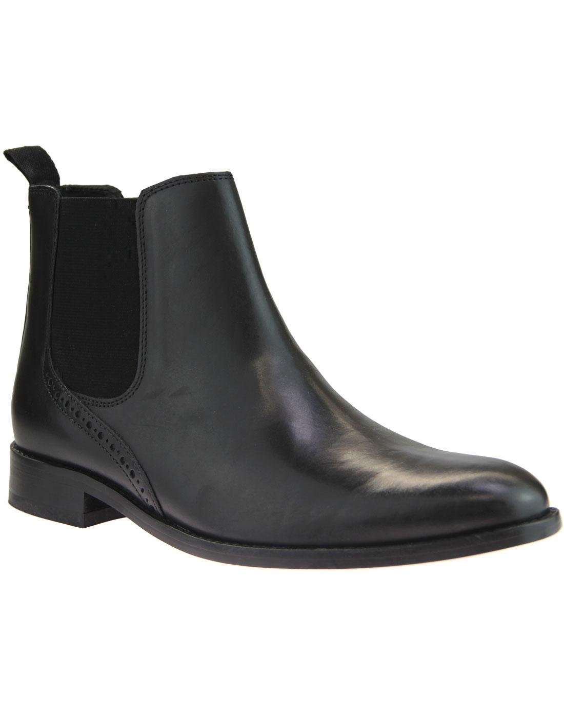 Jerry IKON Retro Mod Black Leather Chelsea Boots
