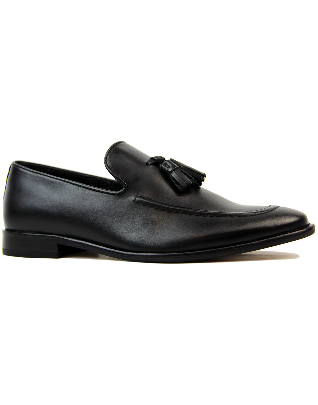 Kent IKON Retro Mod Slip On Tassel Loafers BLACK