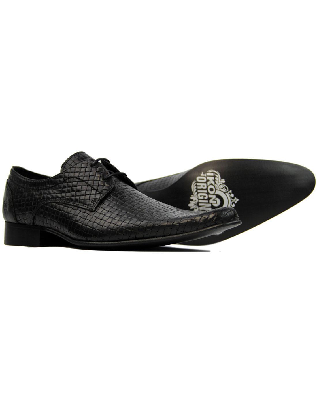 IKON ORIGINAL Buckler Men's Retro Mod Basketweave Shoes in Black