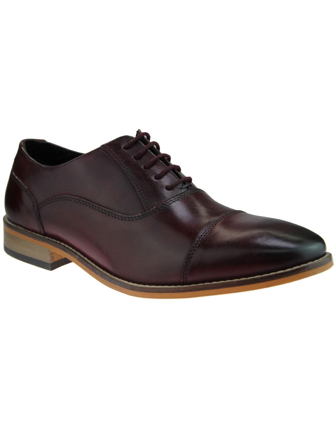 Toby IKON Retro Mod Toe Cap Oxford Shoes BORDO