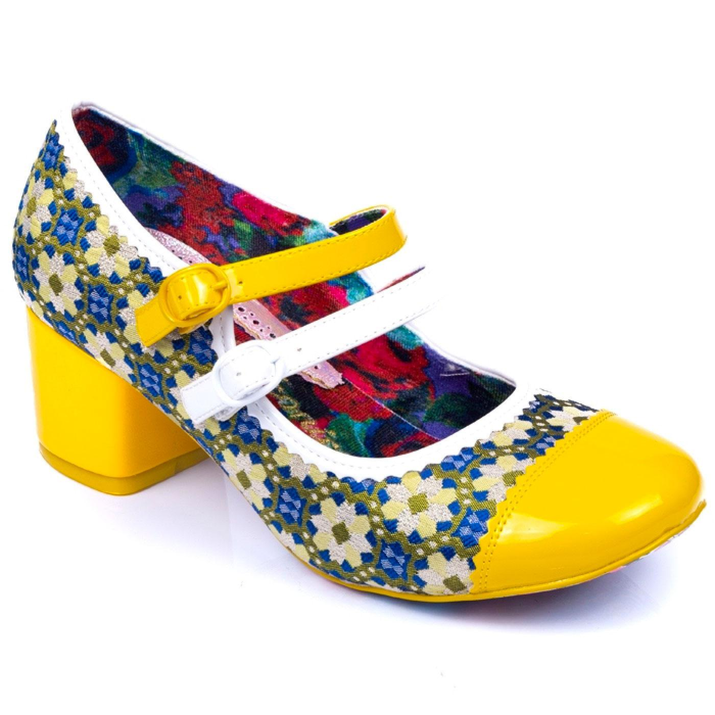 Mini Mod IRREGULAR CHOICE Floral 60s Heels YELLOW