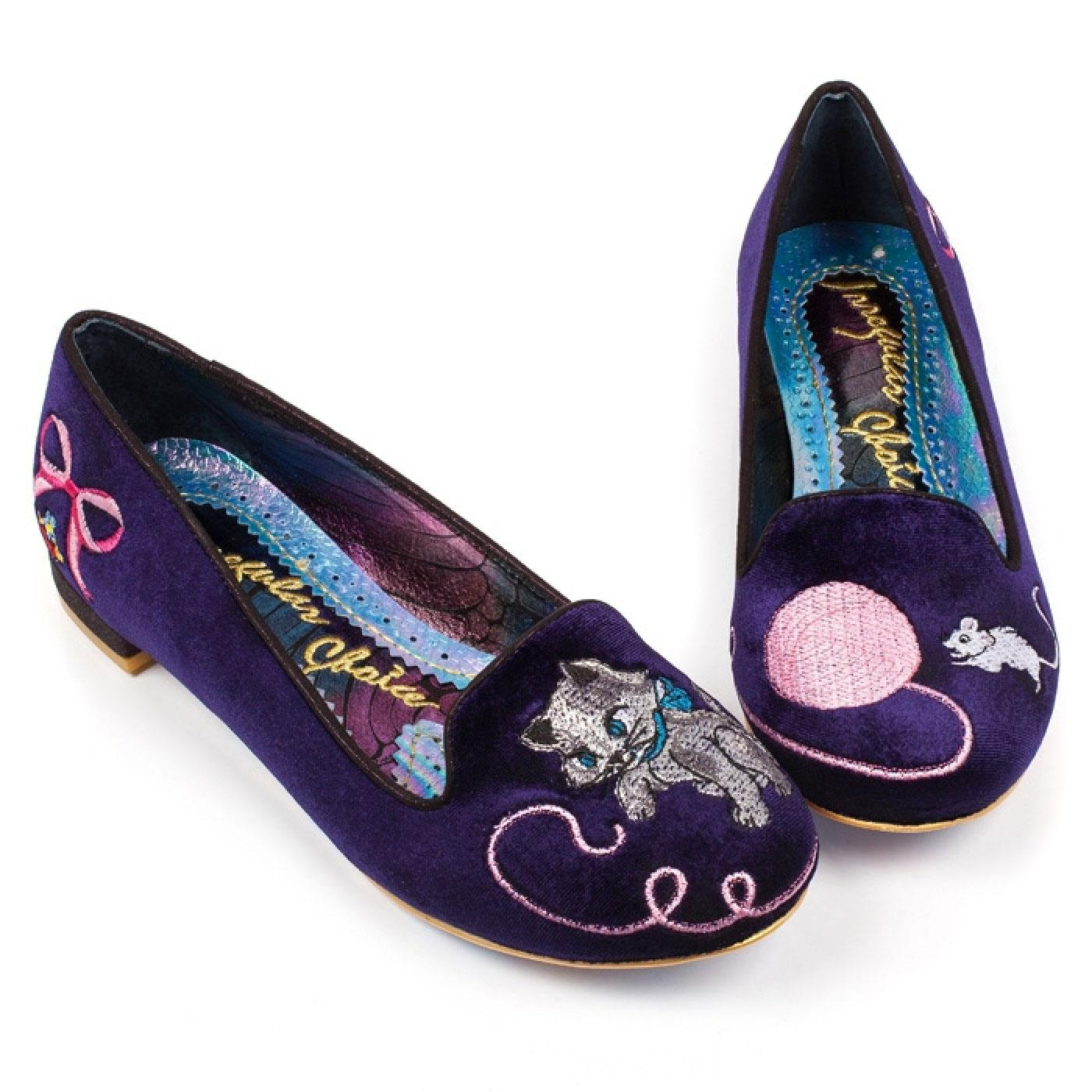 The Cats Miaow IRREGULAR CHOICE Kitty Flats Purple