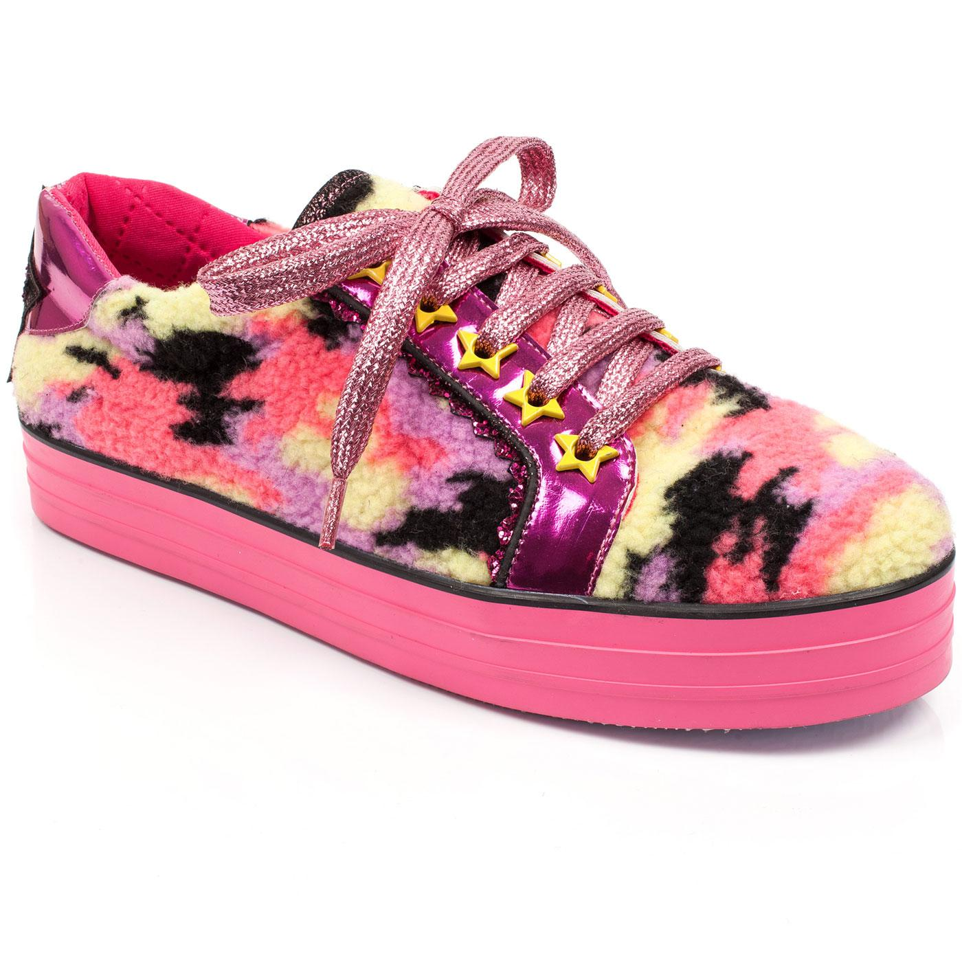 Hide Me IRREGULAR CHOICE 80s Retro Trainers Pink
