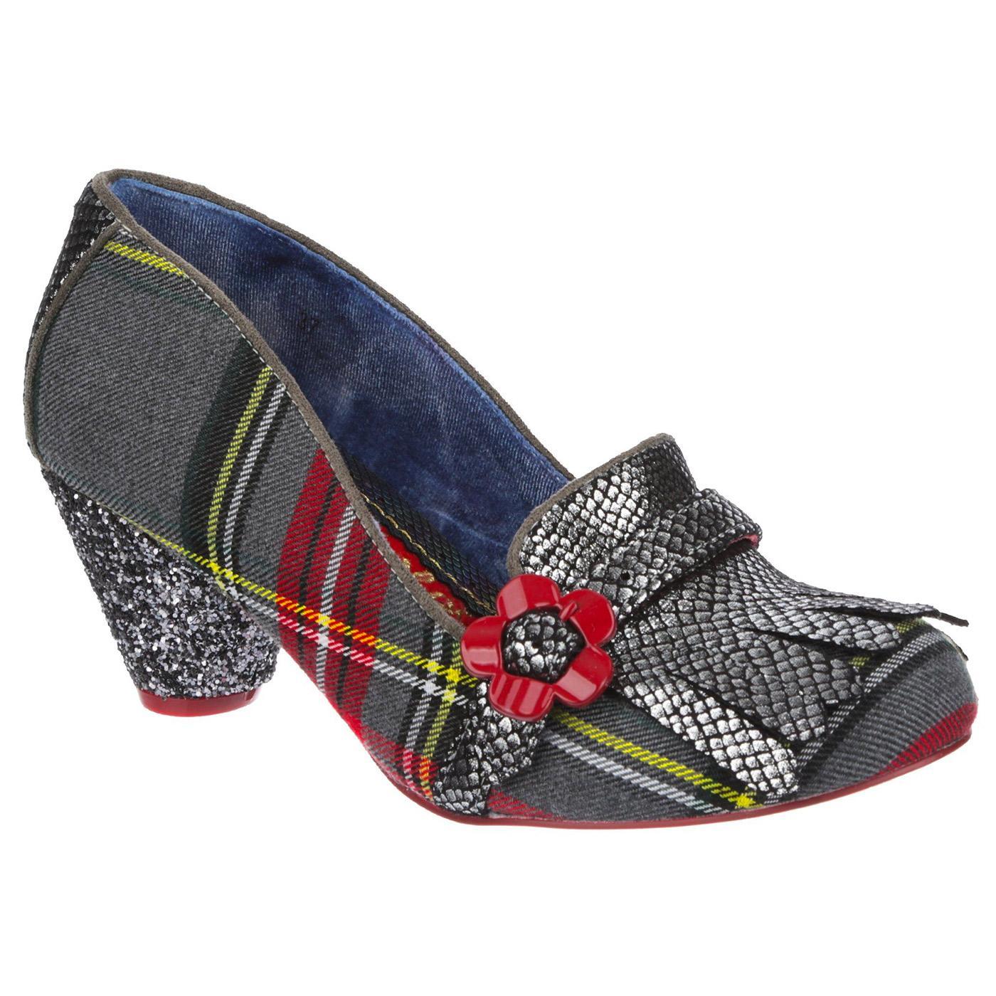 Highland Haven IRREGULAR CHOICE Grey Tartan Heels