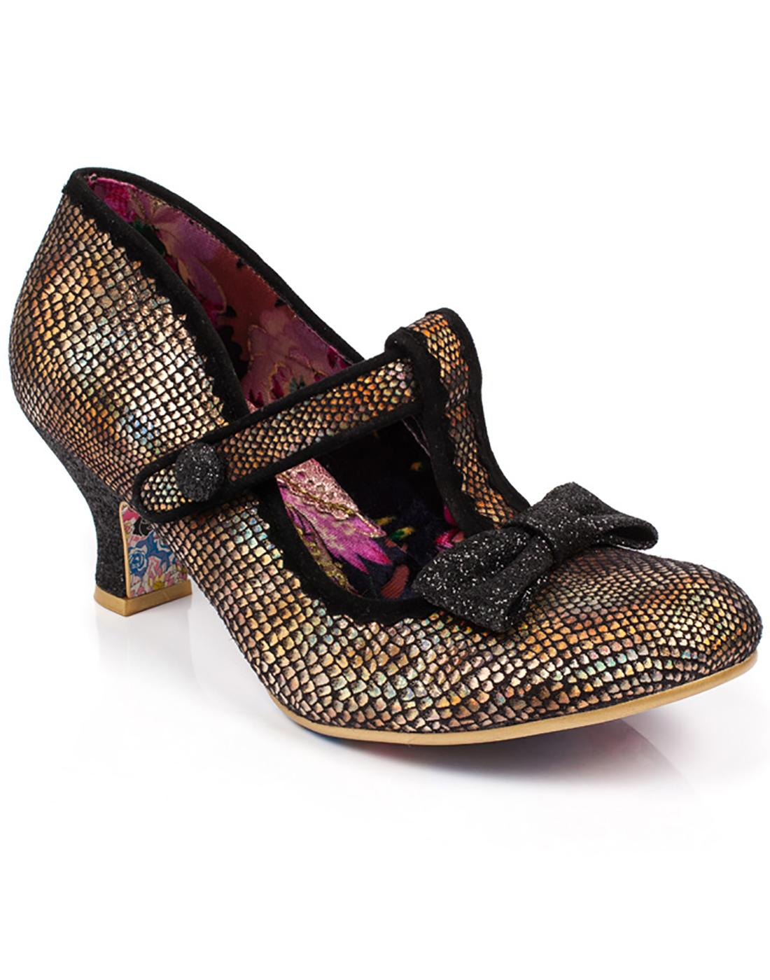 Lazy River IRREGULAR CHOICE Iridescent Heels Gold