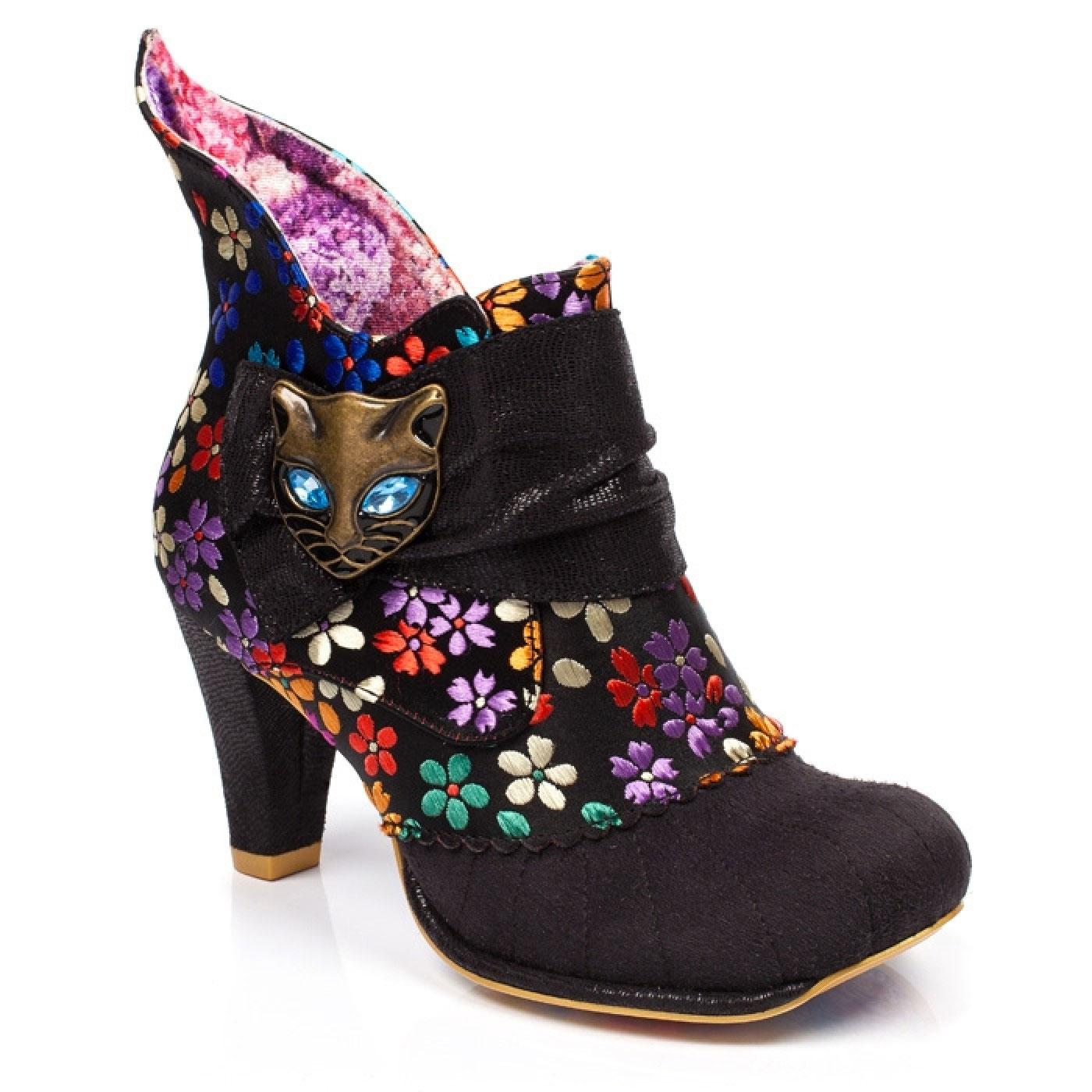Miaow IRREGULAR CHOICE Retro 60s Floral Boots Blk
