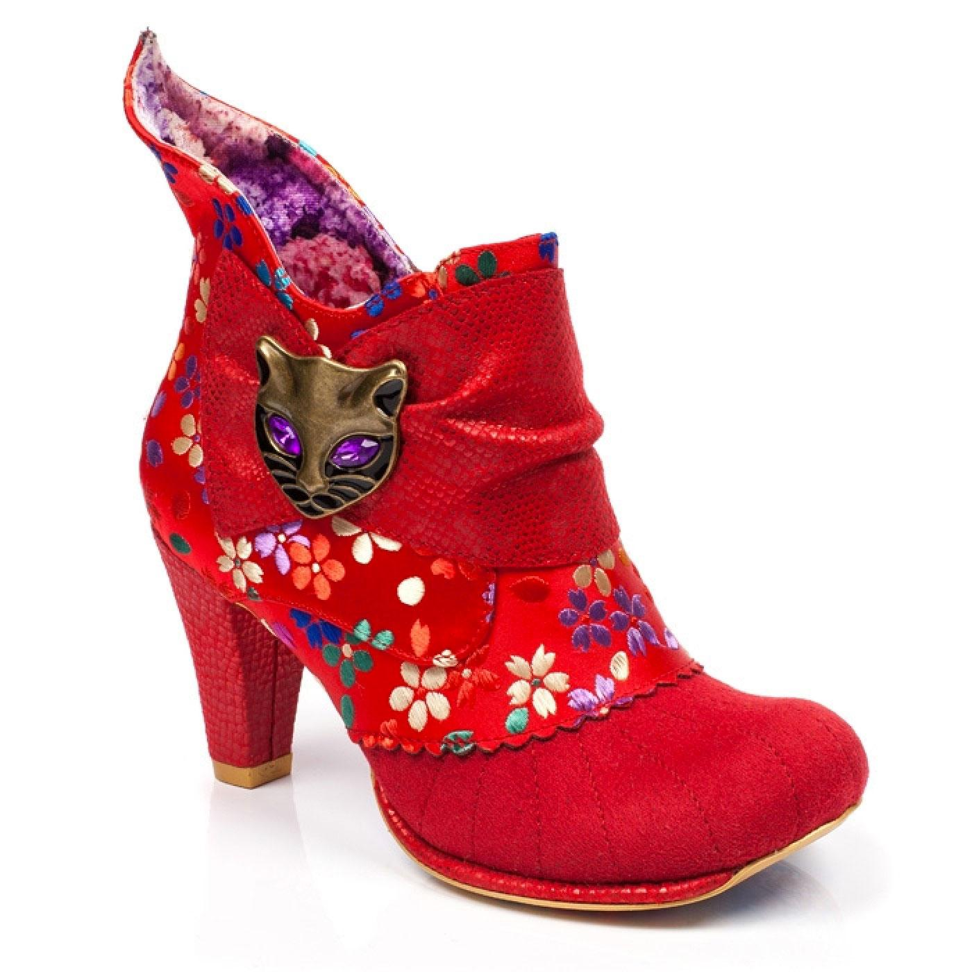 Miaow IRREGULAR CHOICE Retro 60s Floral Boots Red
