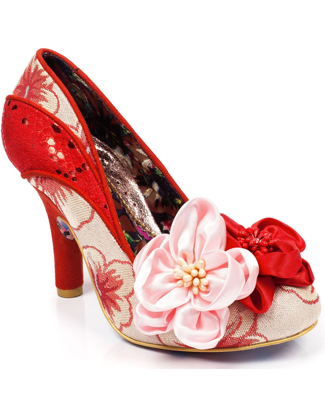 Peach Melba IRREGULAR CHOICE 50s Floral Heels RED