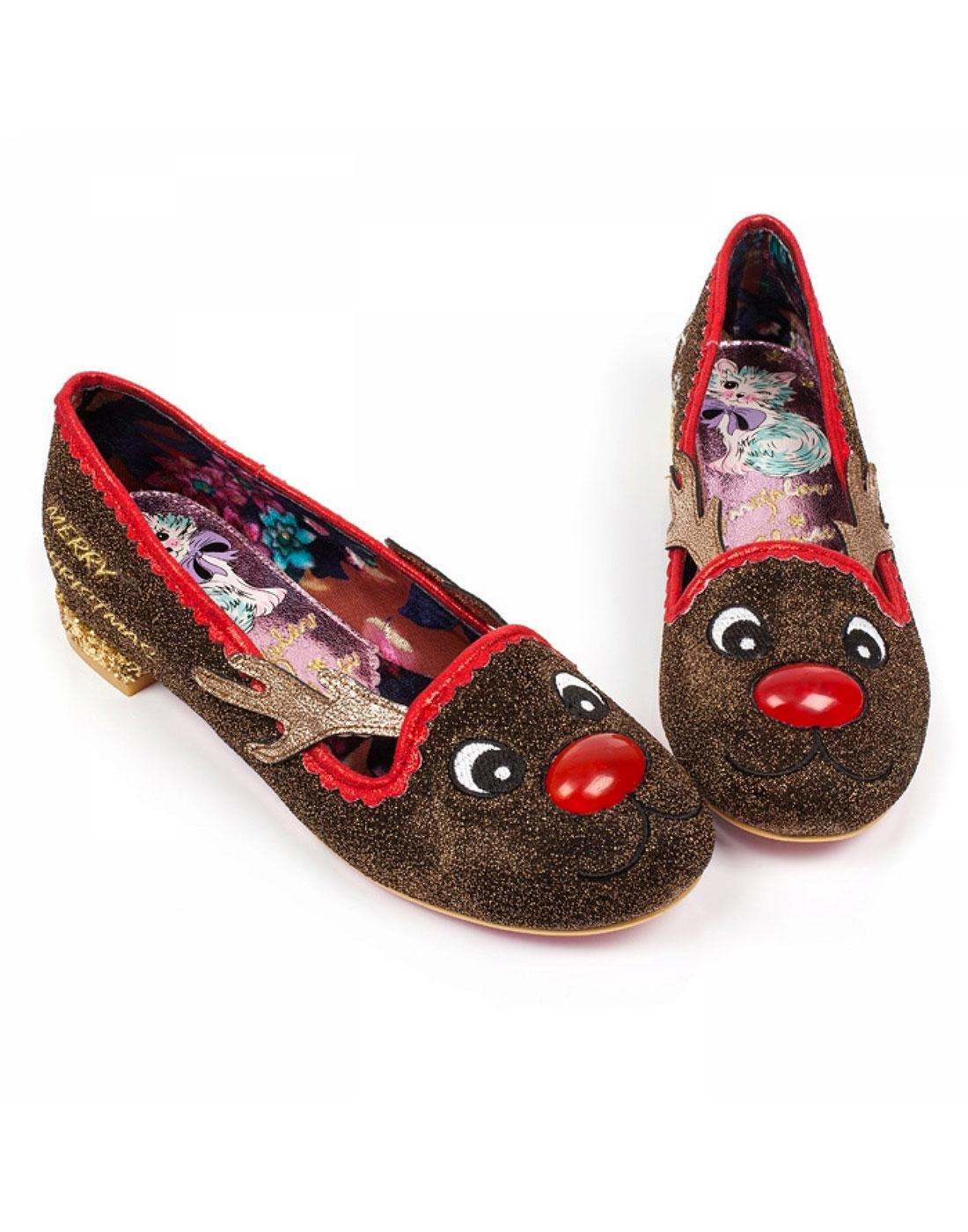 IRREGULAR CHOICE Red Nose Roo Christmas Light Up Flat Shoes
