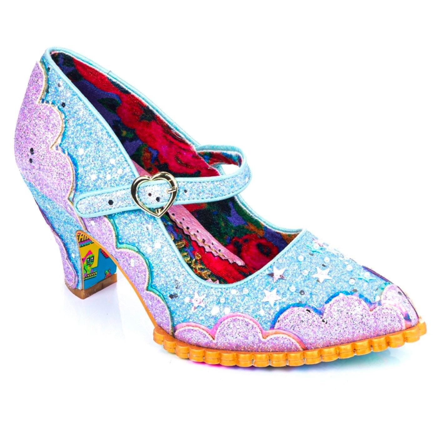 Shortie Bread IRREGULAR CHOICE Blue Glitter Heels