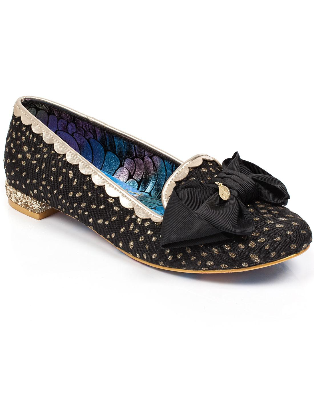 Sulu IRREGULAR CHOICE 50s Black And Gold Bow Flats