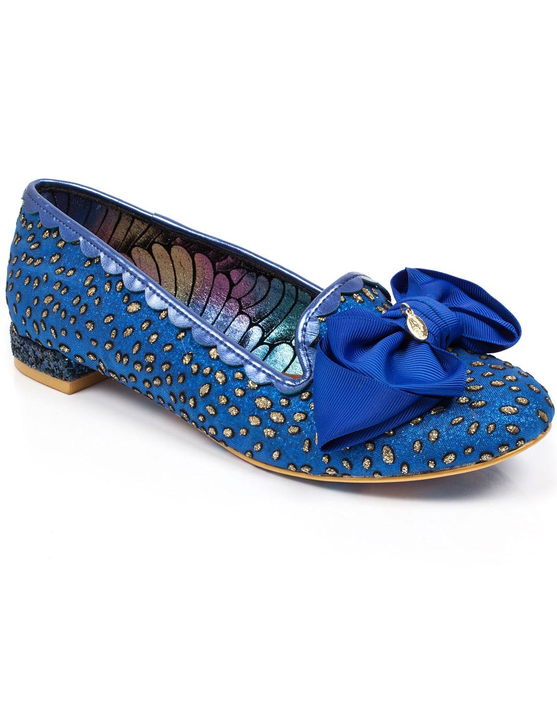 Sulu IRREGULAR CHOICE 50s Blue And Gold Bow Flats