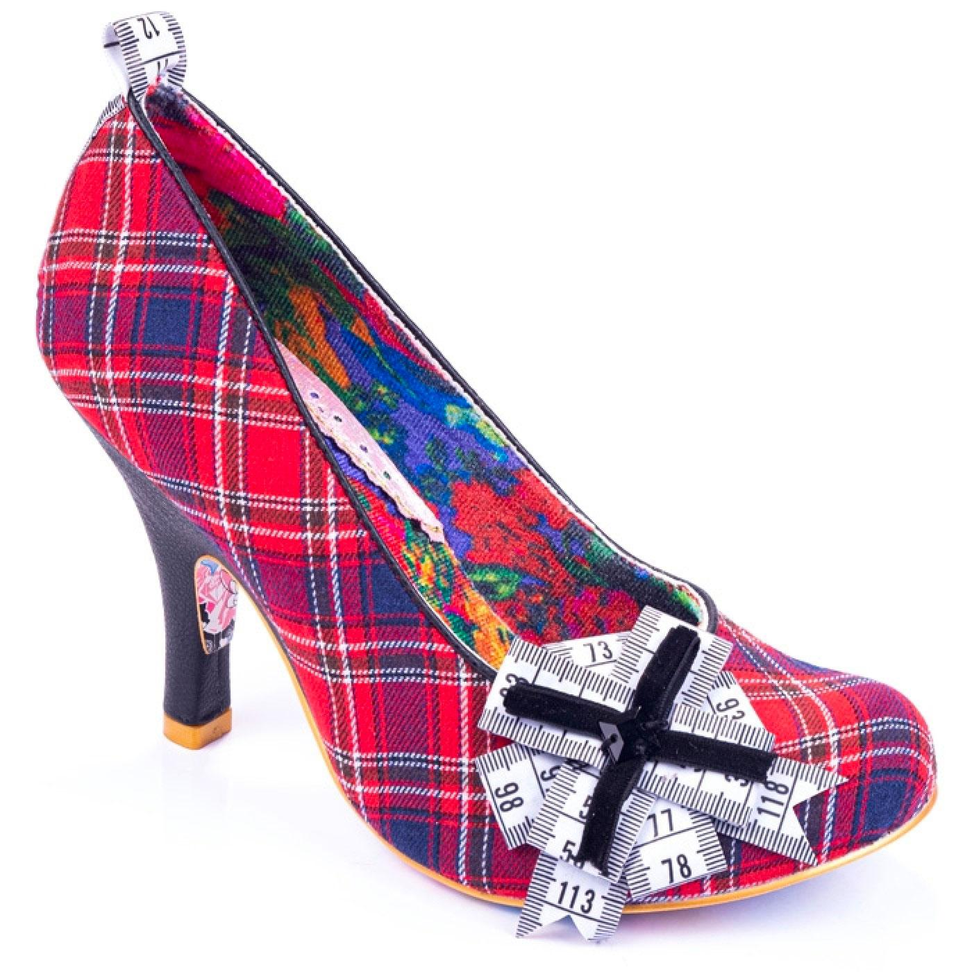 Tapetastic IRREGULAR CHOICE Tartan Tape Heels RED