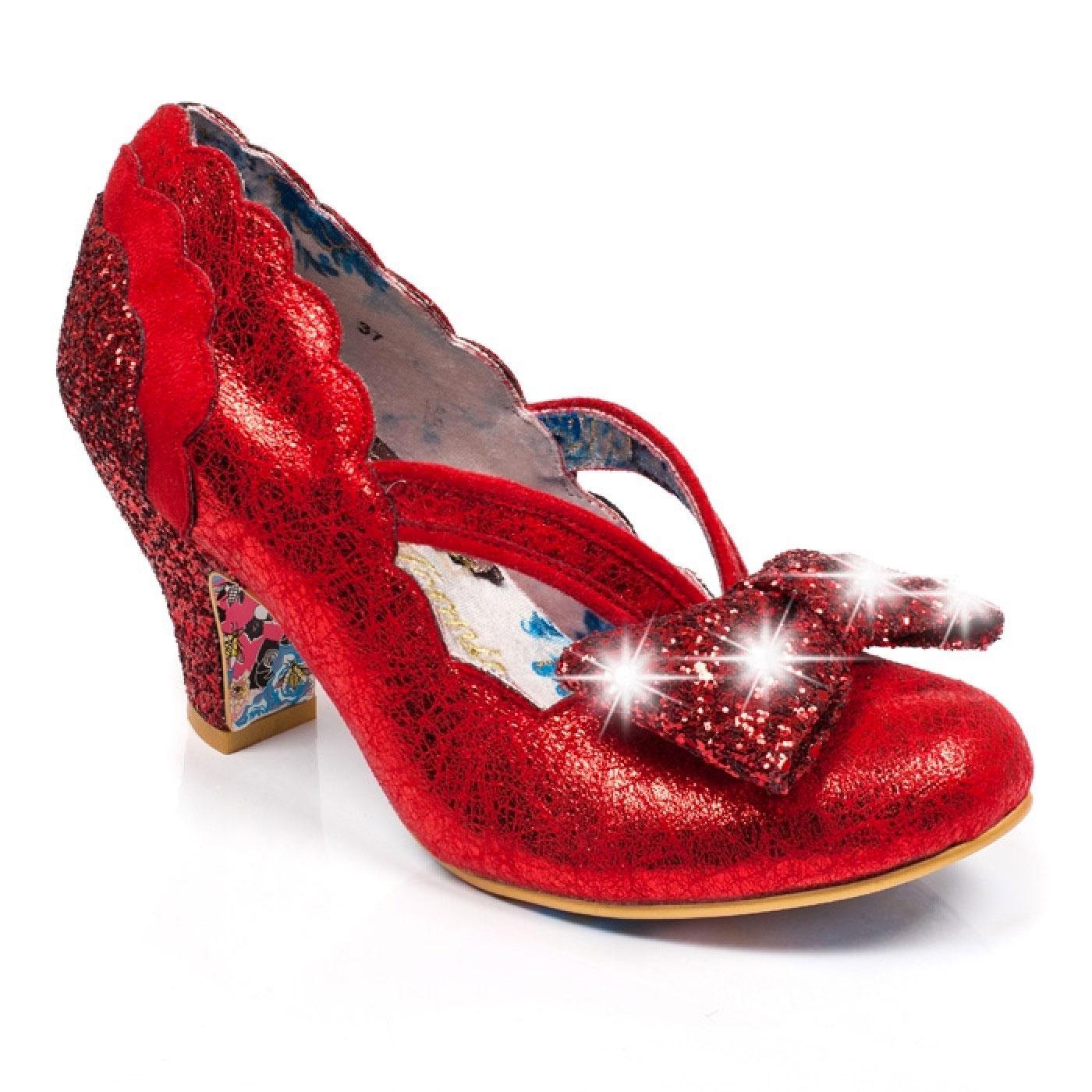 Twinkle IRREGULAR CHOICE Glitter Flashing Heel Red