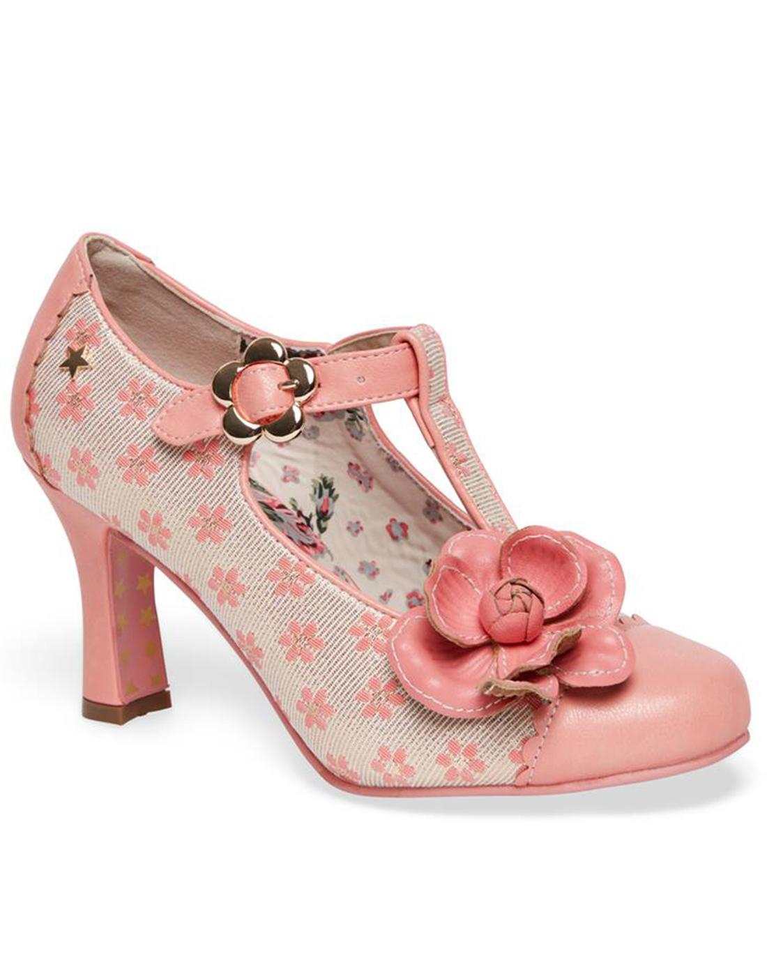 Cecelia JOE BROWNS Retro Floral T-Bar Heels Pink