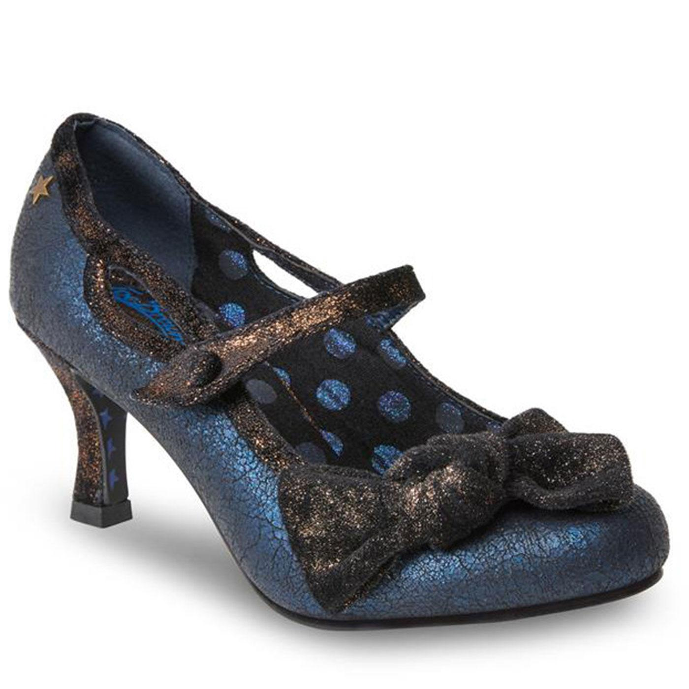 Jezabel JOE BROWNS Cracked Metallic Bow Heels Blue