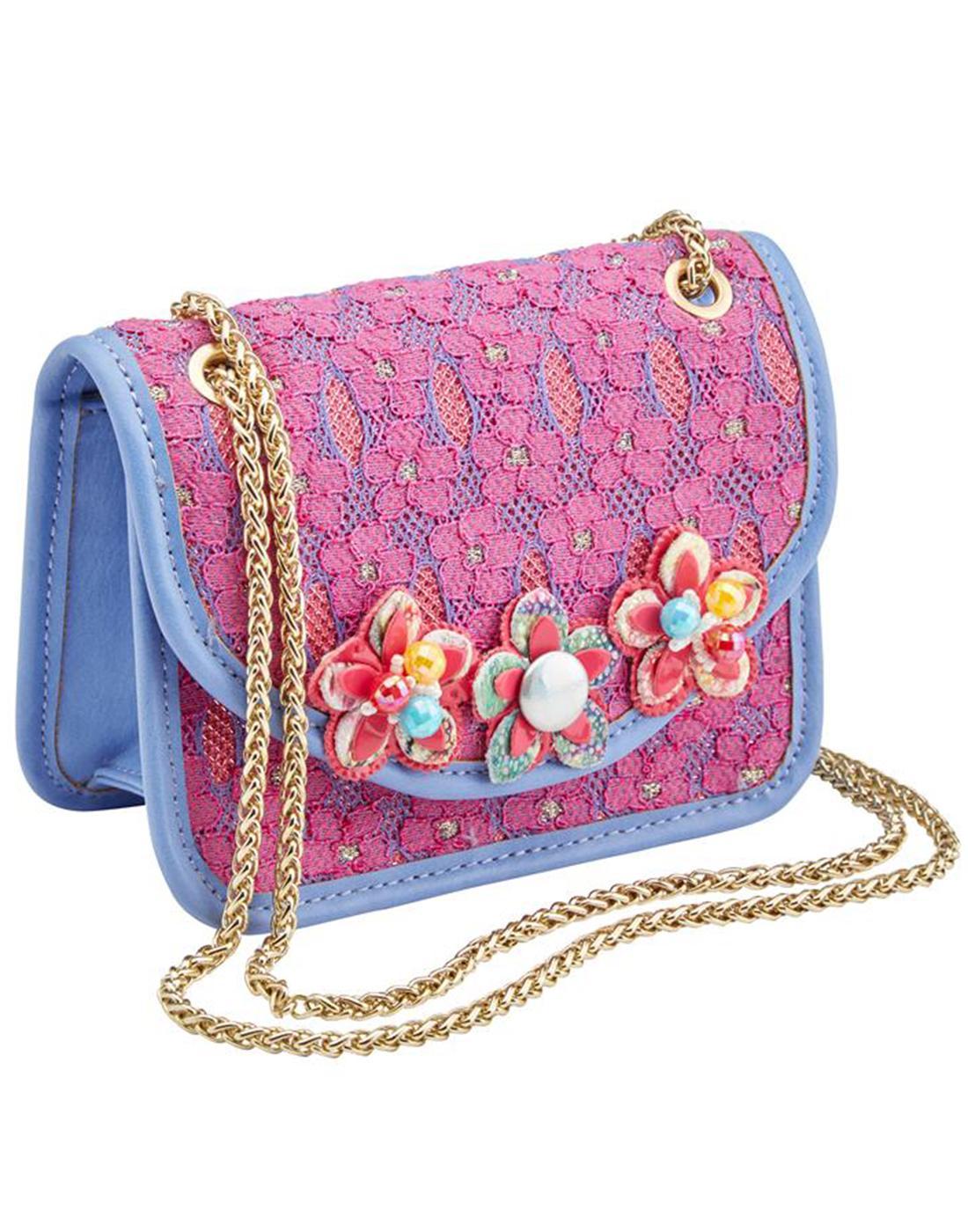 Malia JOE BROWNS Vintage Retro Pink Lace Handbag