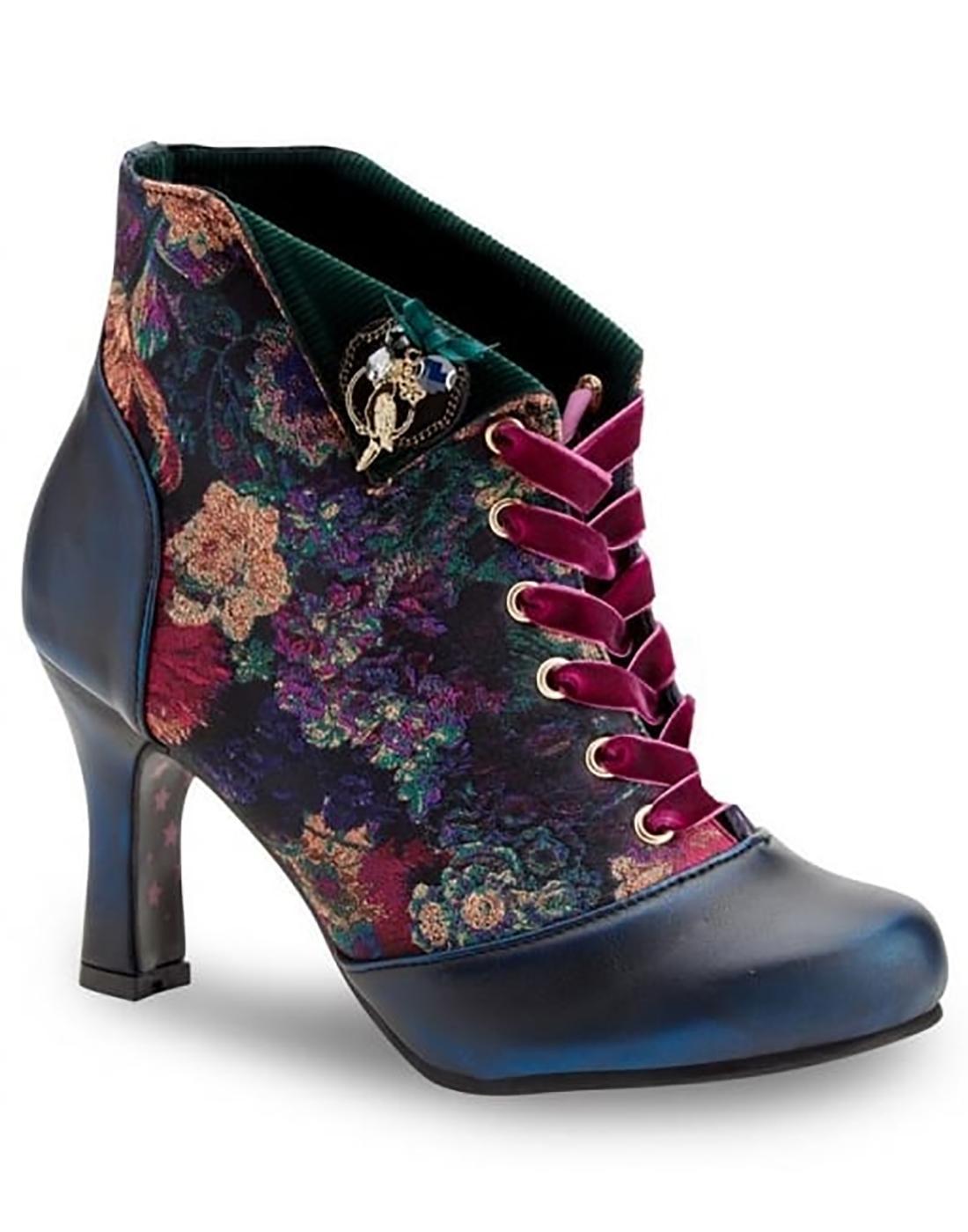 Raven JOE BROWNS Vintage Floral Heeled Boots Blue