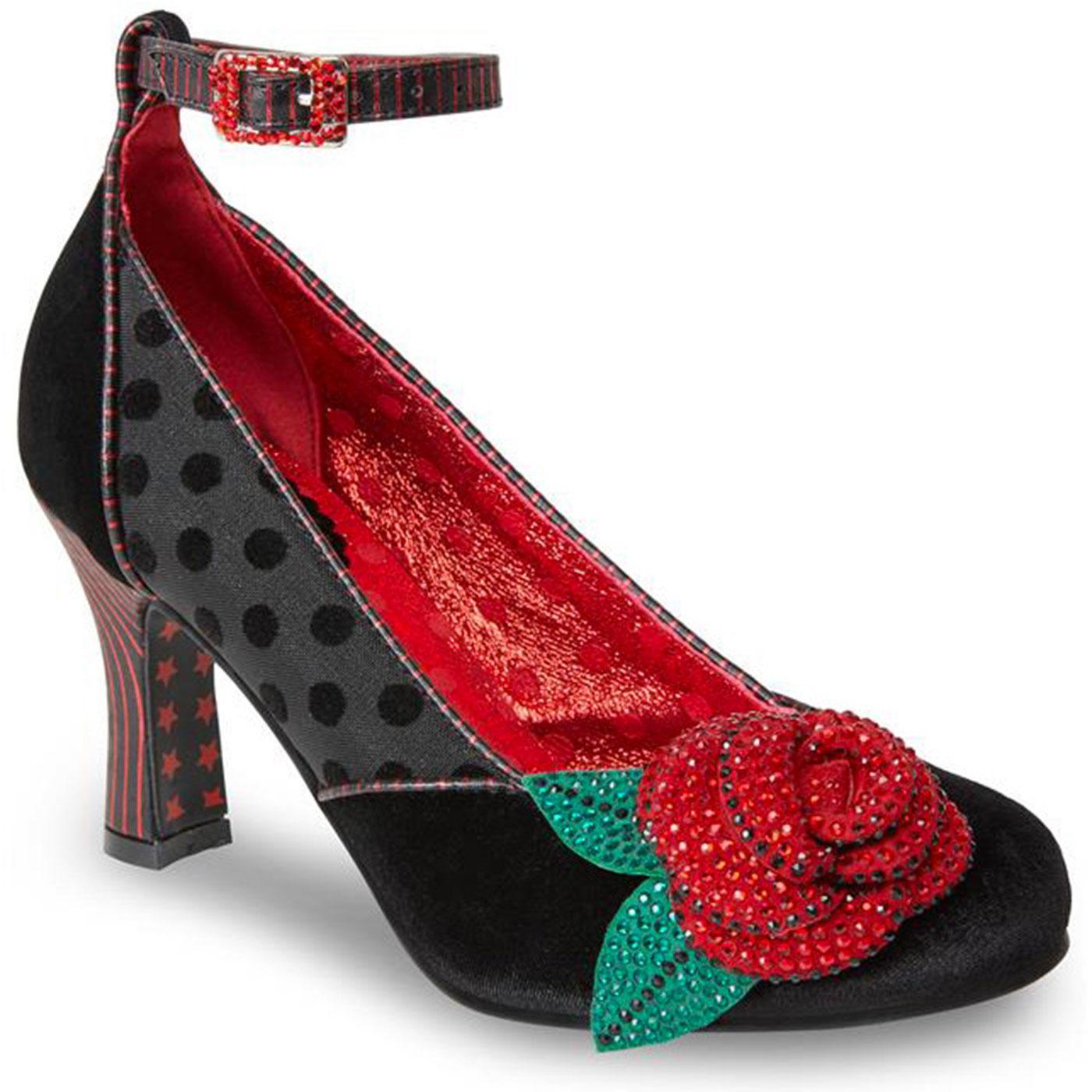 Senorita JOE BROWNS Vintage Velvet 50s Rose Heels