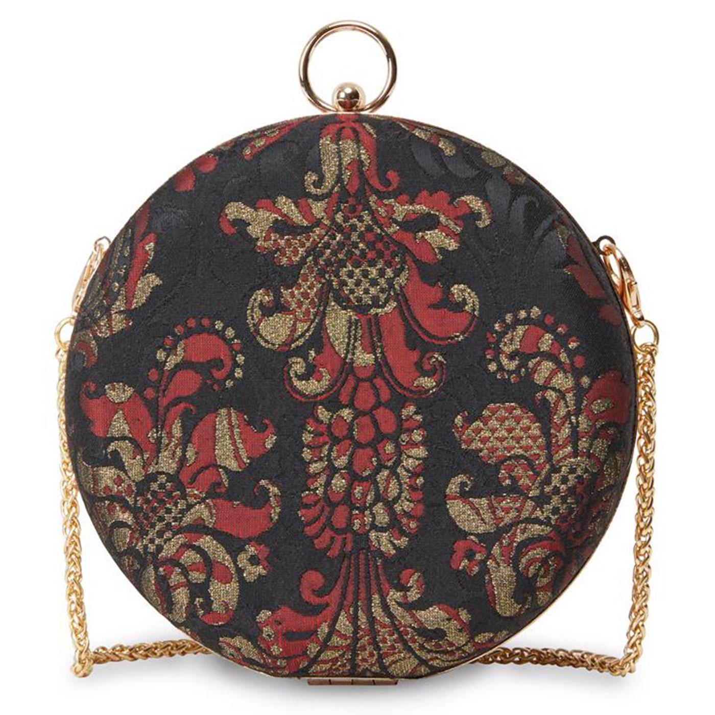 Victoria JOE BROWNS Vintage Brocade Round Box Bag