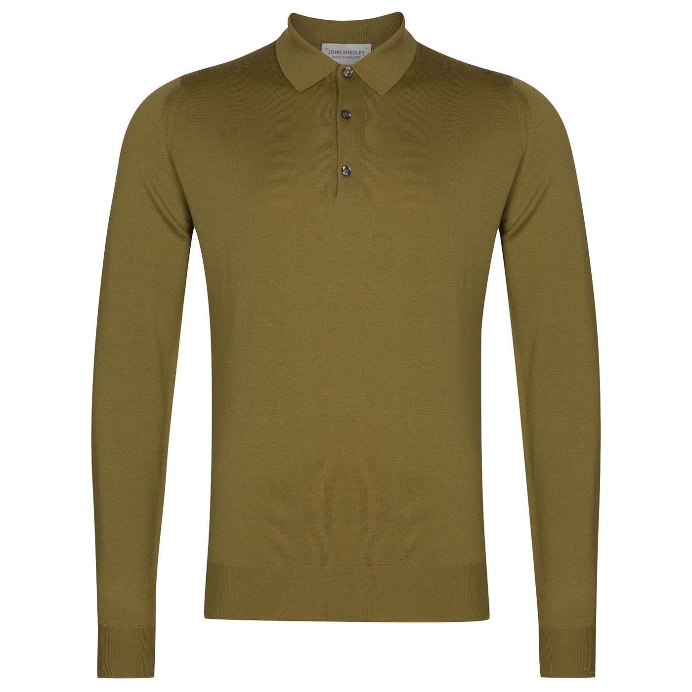 Belper JOHN SMEDLEY Mens Knitted Mod Polo Shirt WG