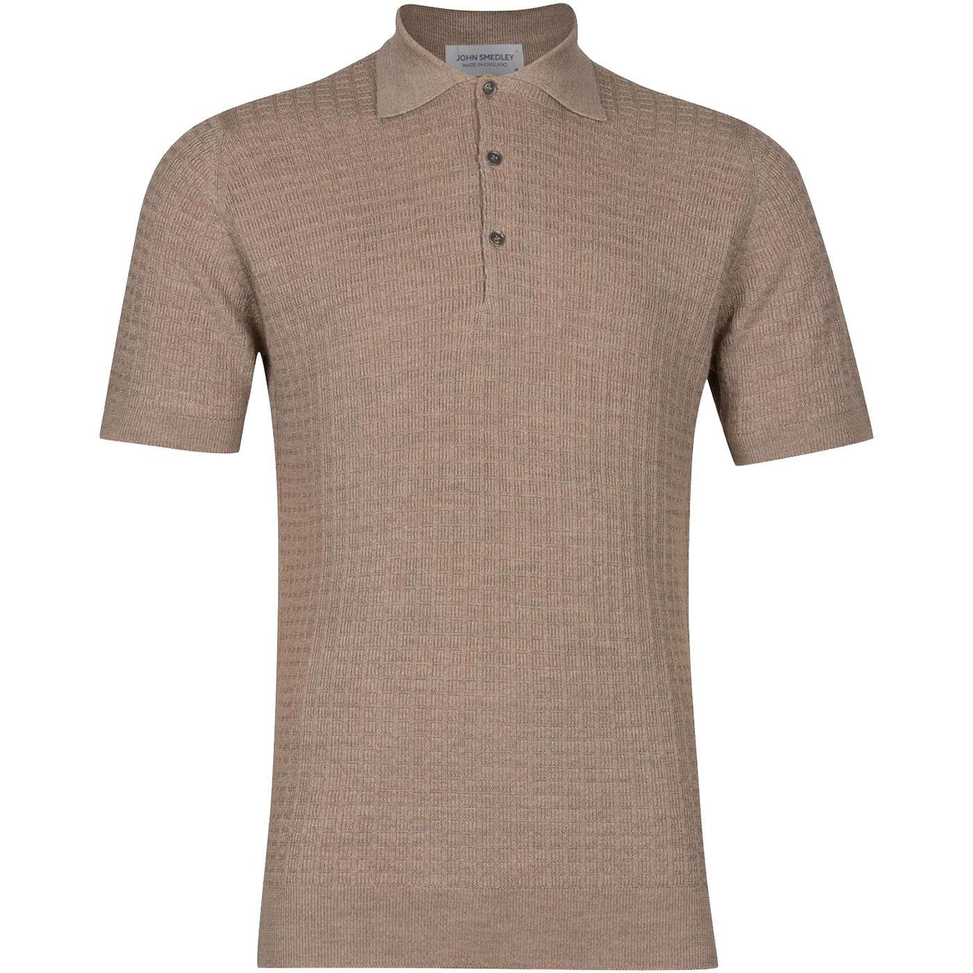 Brushwood JOHN SMEDLEY Wool Texture Knit Mod Polo