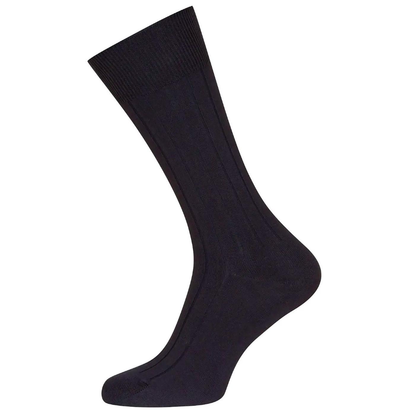 Delta JOHN SMEDLEY Mens Retro Ribbed Socks (Black)