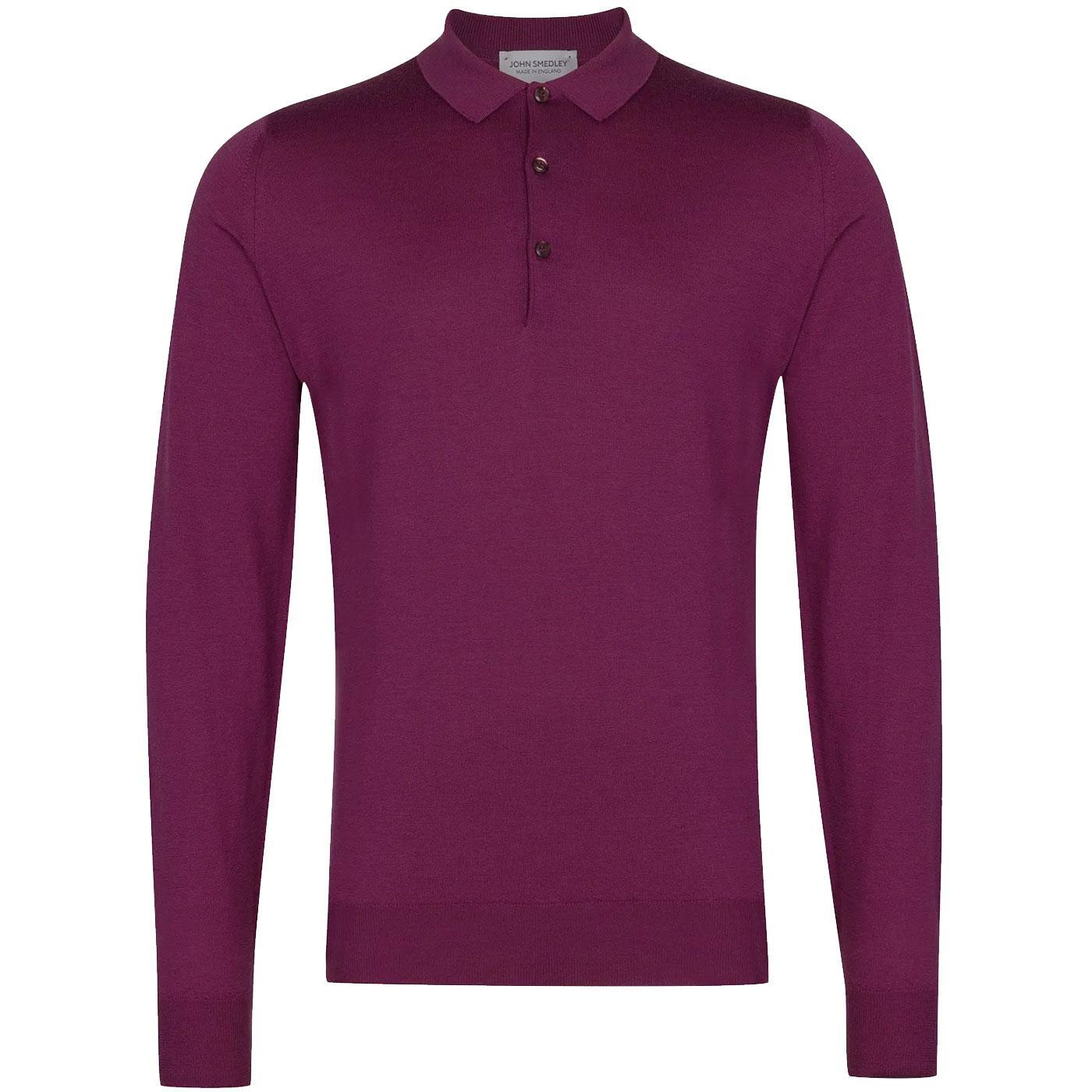 Belper JOHN SMEDLEY L/S Knitted Mod Polo Shirt WH