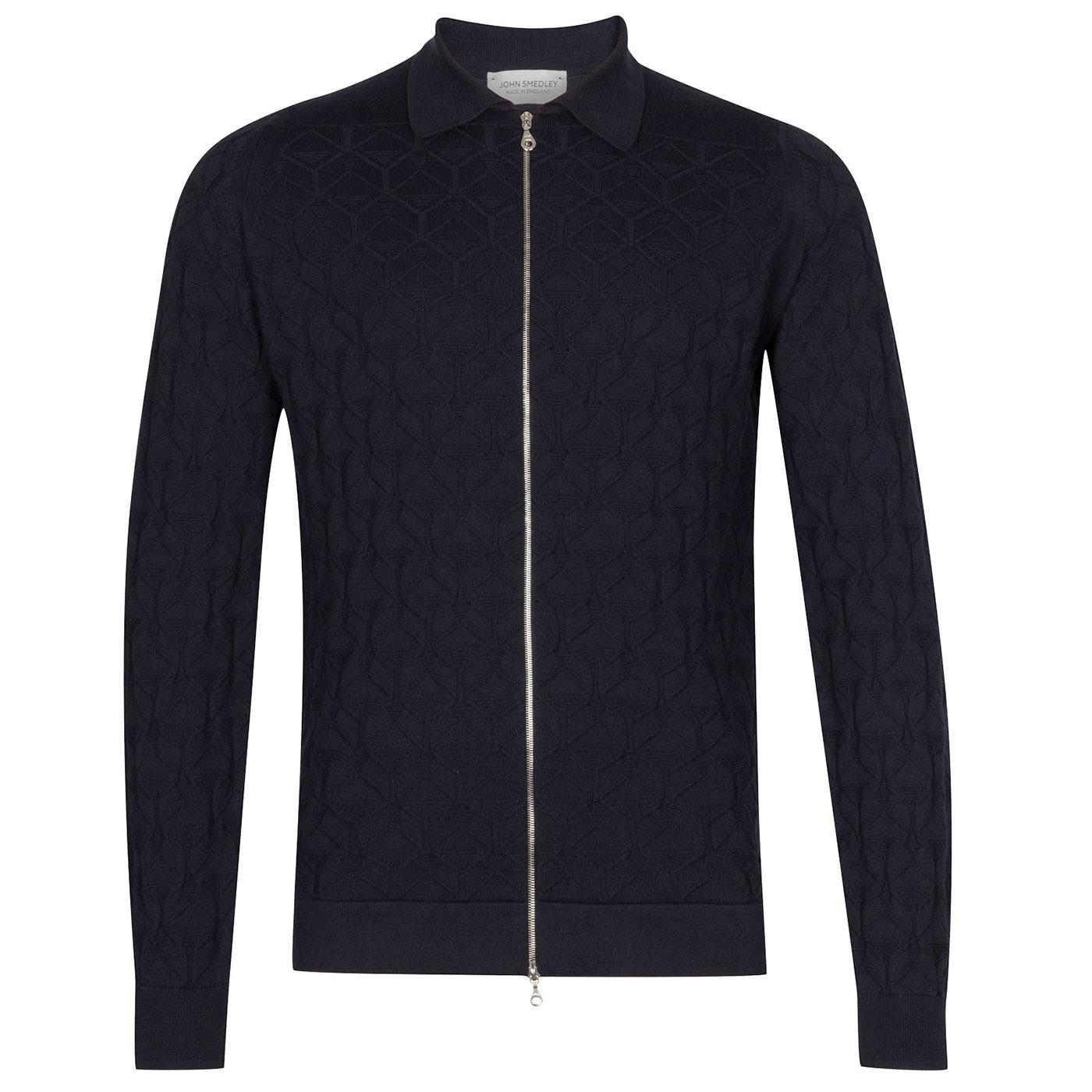 Terrain JOHN SMEDLEY Geo Knit Zip Through Cardigan