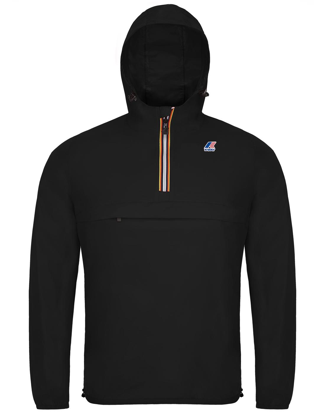 Leon K-WAY Retro Pack-A-Mac Half Zip Cagoule Black