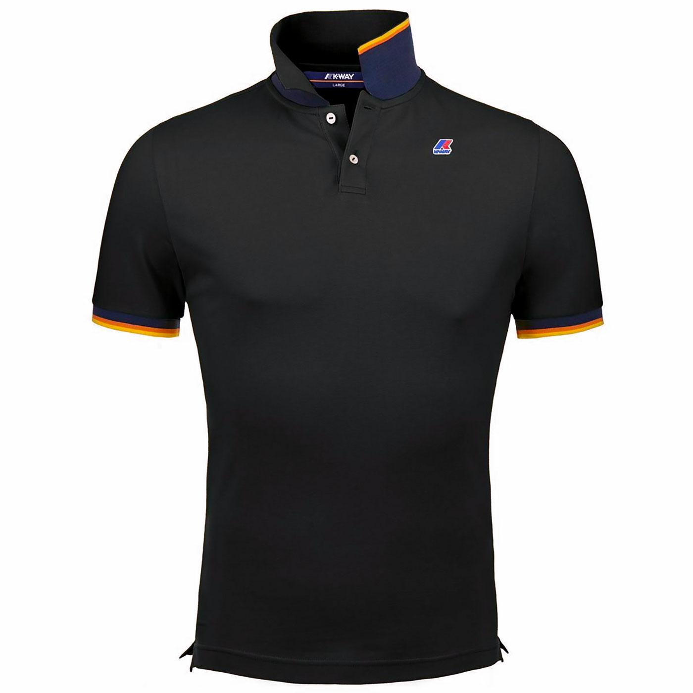 Vincent K-WAY Retro Mod Pique Polo Shirt (Black)