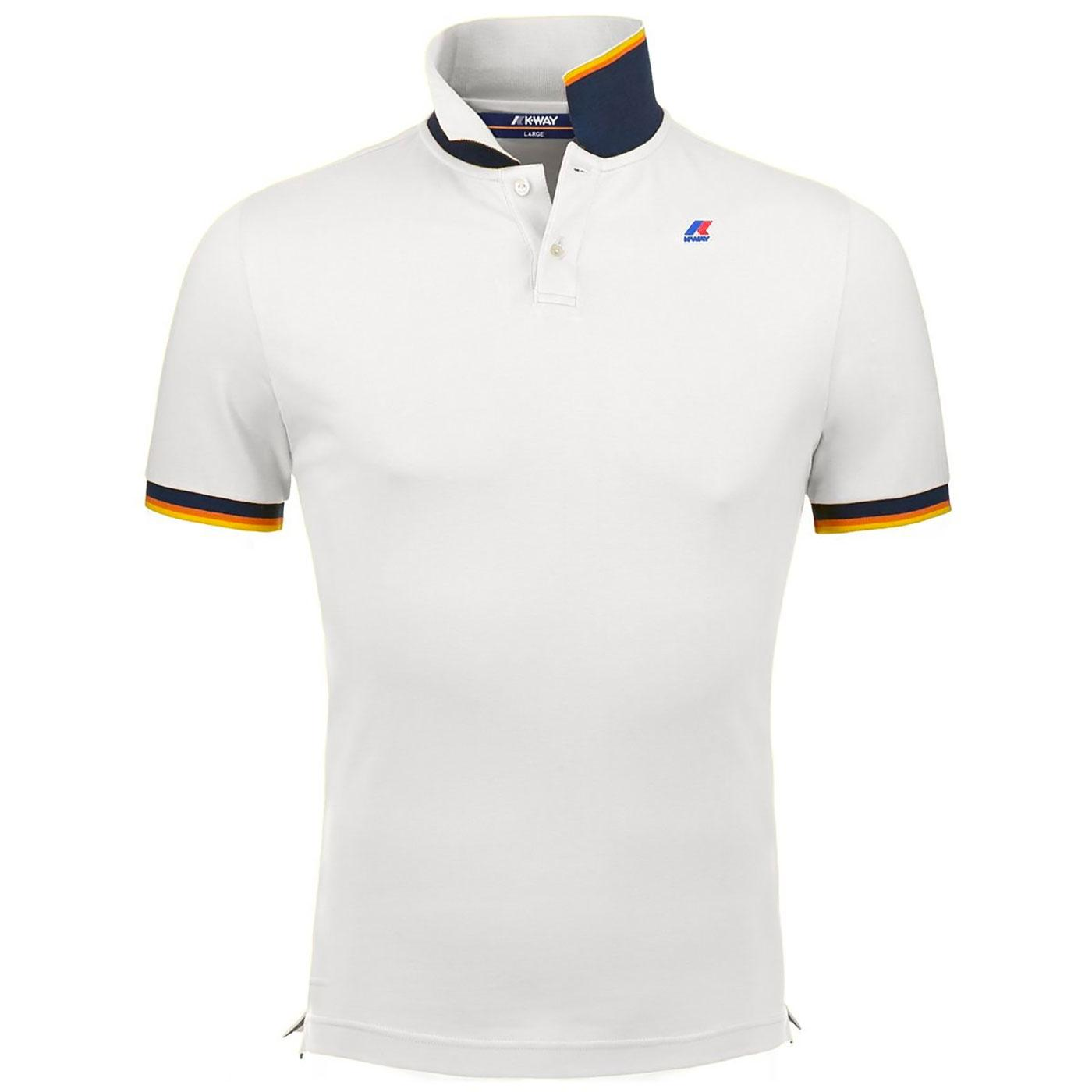 Vincent K-WAY Retro Mod Pique Polo Shirt (White)