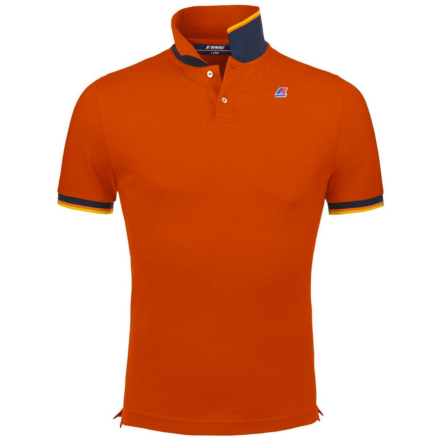 Vincent K-WAY Men's Retro Pique Polo Top (Orange)