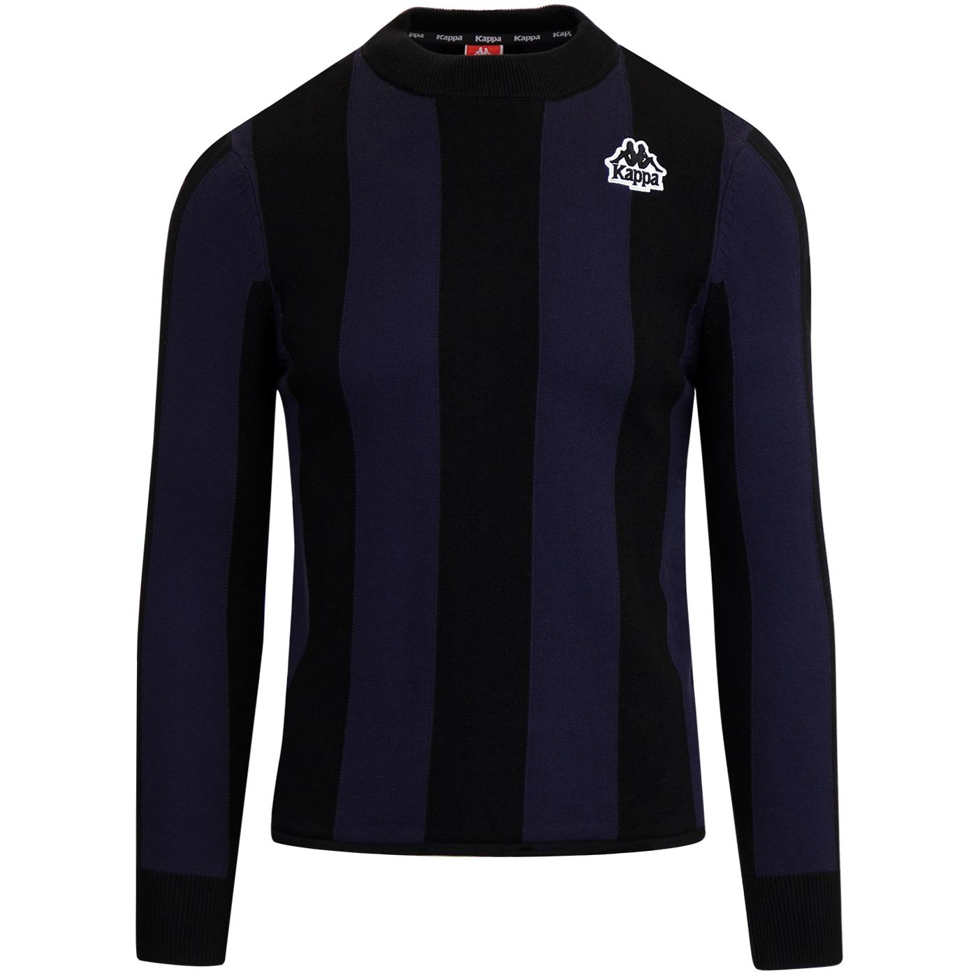 Ayrone KAPPA Retro 80s Football Stripe Jumper BLUE