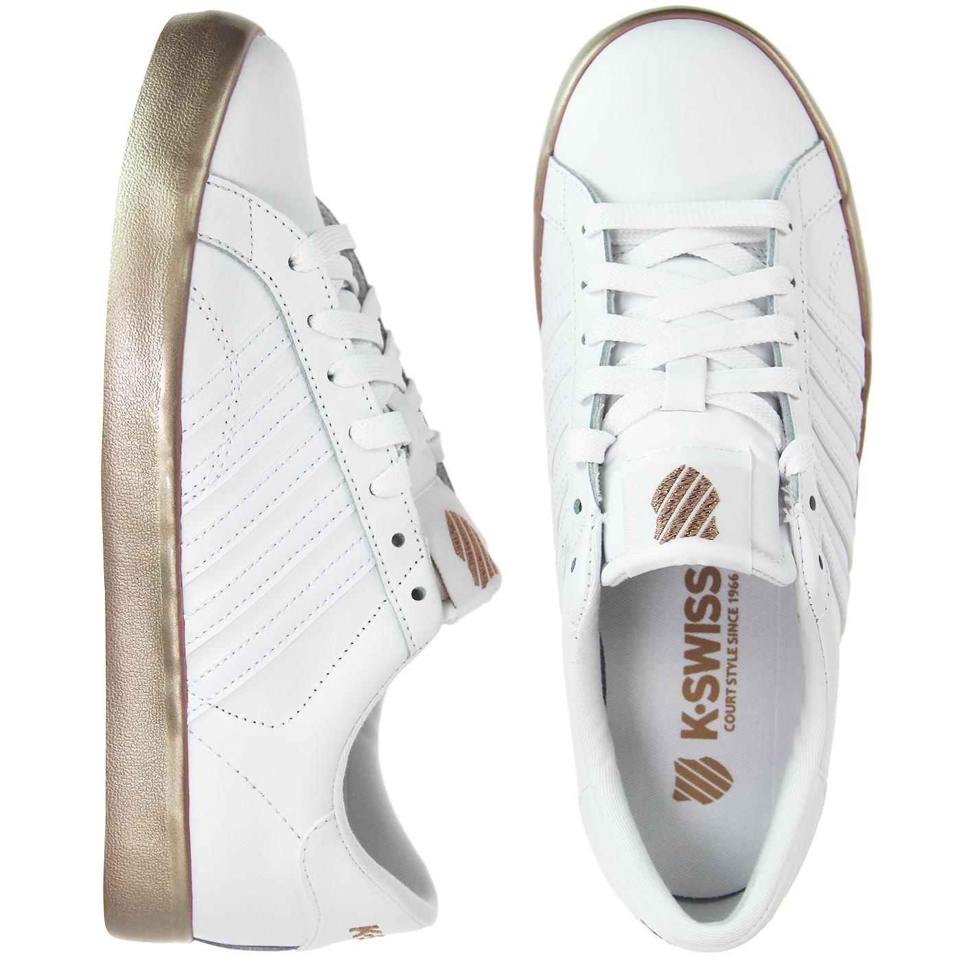 Retro Tennis Trainers White/Rose Gold