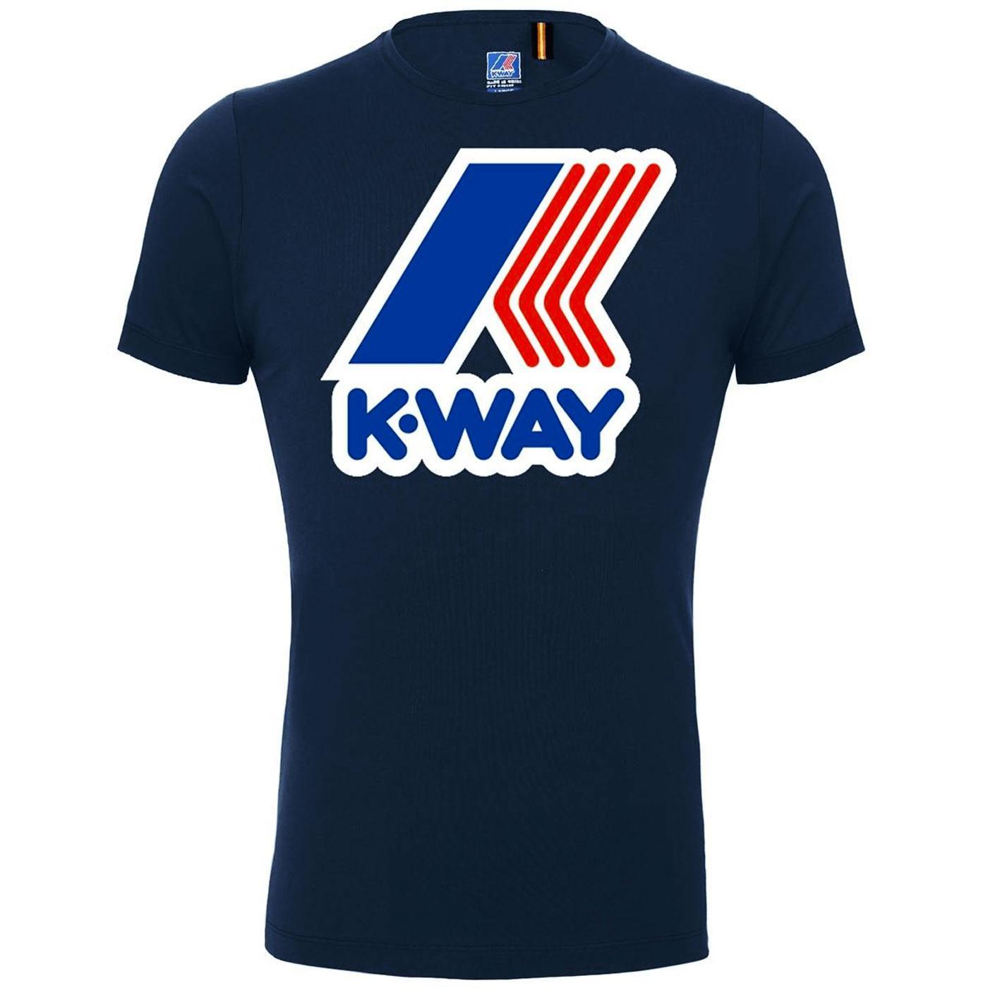 K-WAY Pete Macro Logo Retro 80s Tee (Blue Depths)