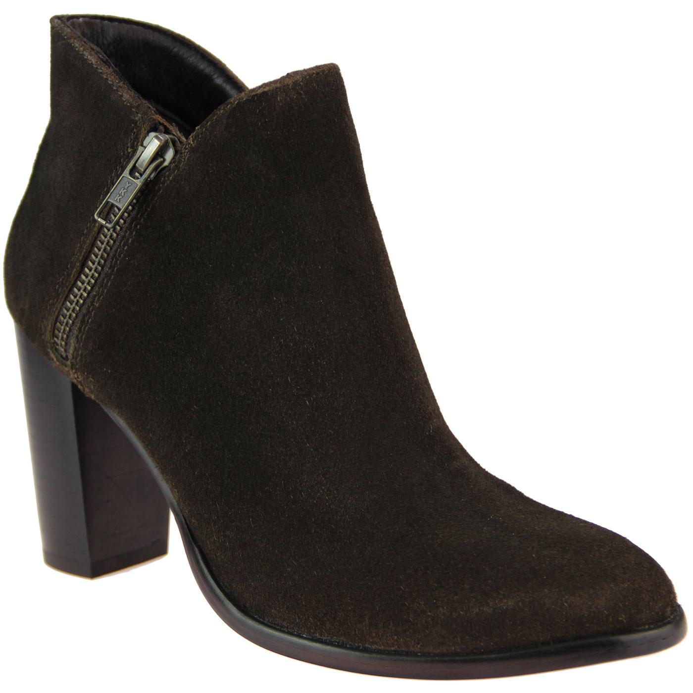 Cobie LACEYS Zip Retro Side Suede Heel Boots BROWN