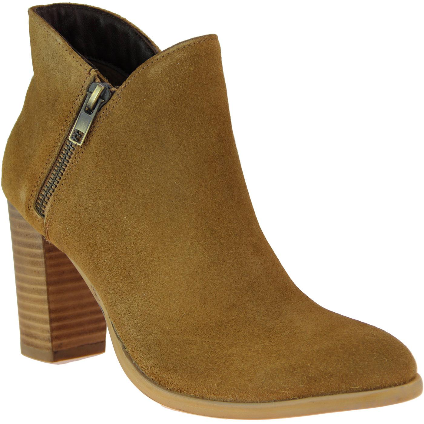 Cobie LACEYS Zip Retro Side Suede Heel Boots TAN