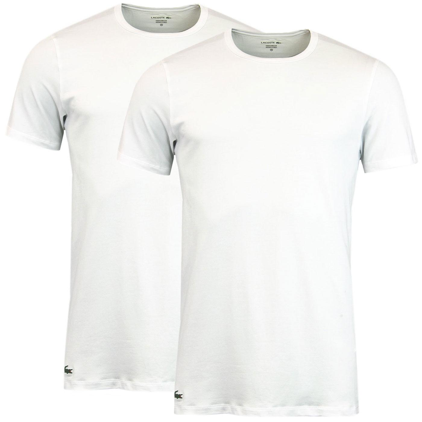 LACOSTE Men's 2 Pack Crew Neck T-Shirt - White