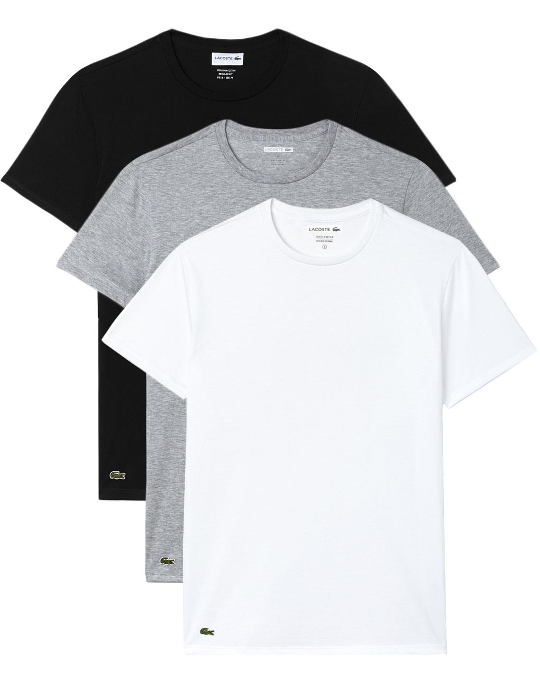 LACOSTE Men's 3 Pack Crew Neck T-Shirt - MULTI