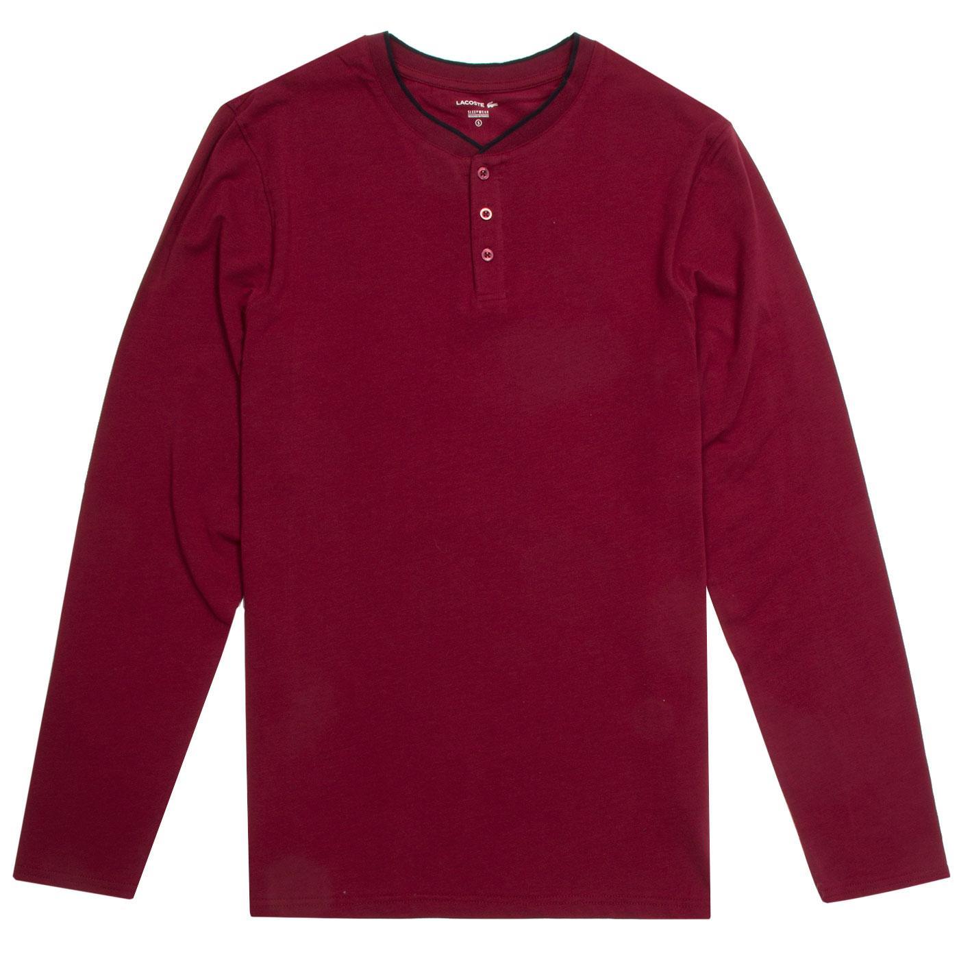LACOSTE Retro Henley Collar Loungewear Tee DR