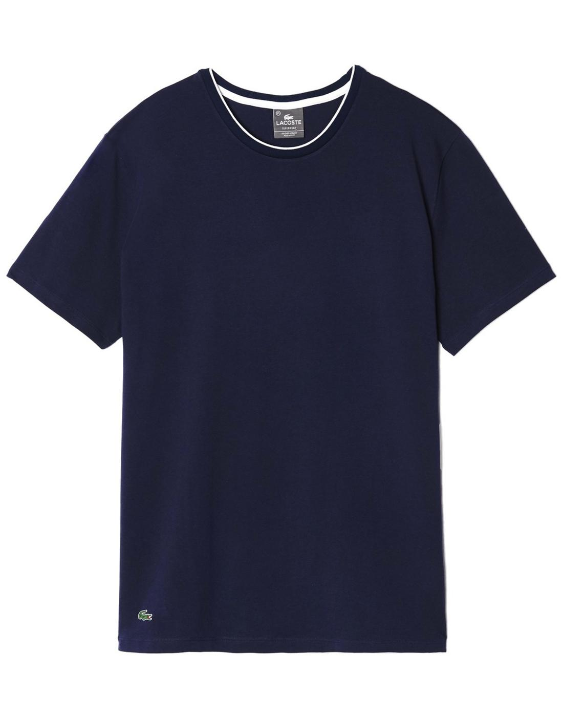 Baseline LACOSTE Mens Tipped Collar T-Shirt Blue
