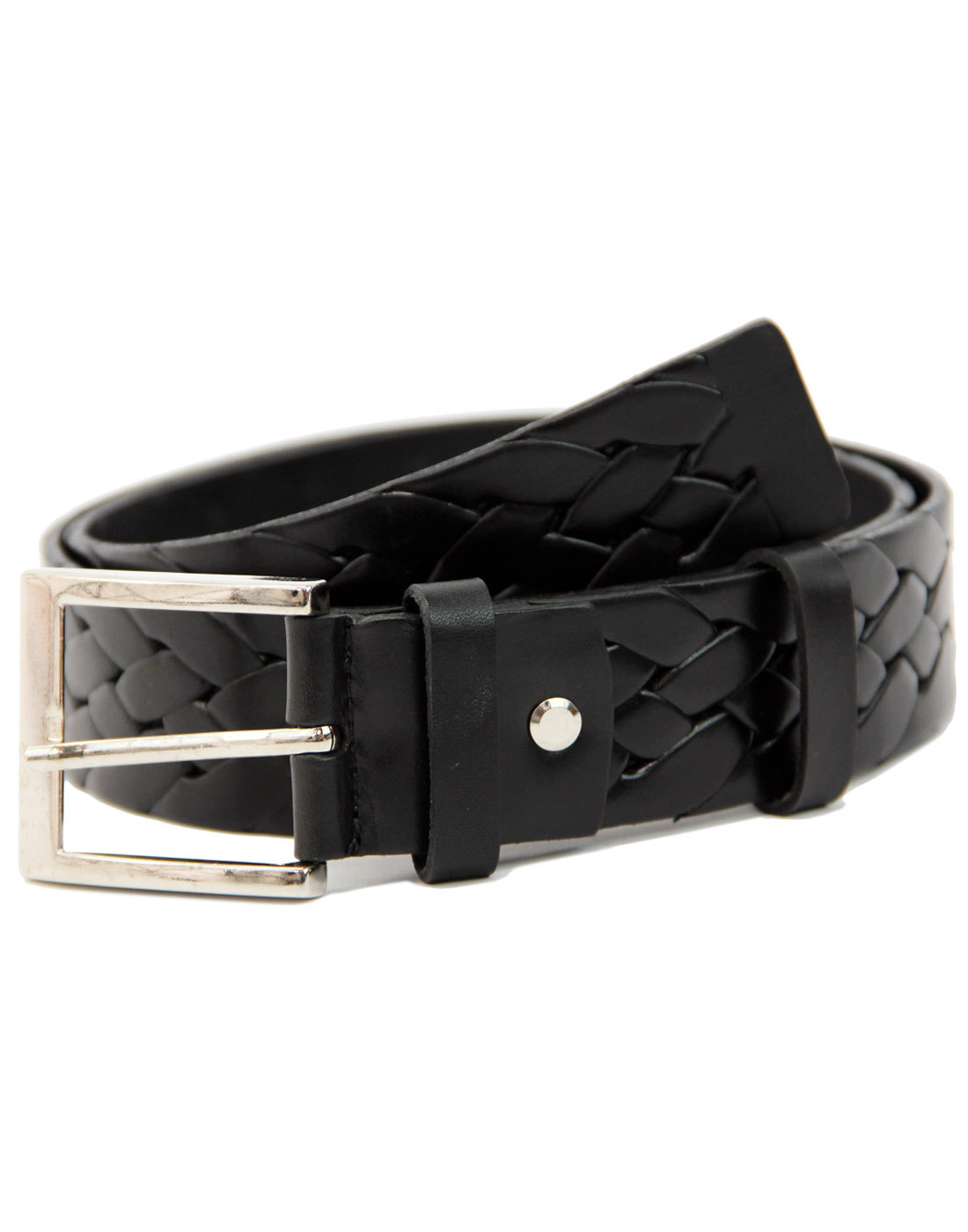 LACUZZO Retro Mod Woven Stamp Leather Belt BLACK